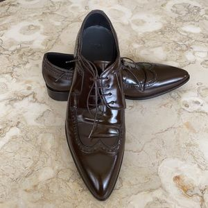 Hugo Boss Wingtip Brown Leather Oxfords Shoes